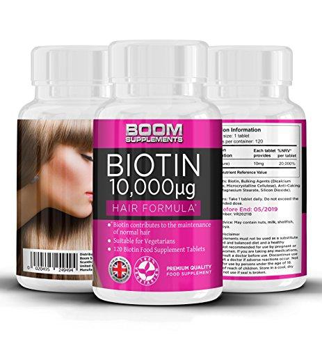 Biotin Hochdosiert 10000 mcg | #1 Haarwuchs-Vitamine | 120 Biotin-Kapseln | 4 GANZE Monate Vorrat | Hilft Haarwachstum bei Frauen | Gefertigt im Vereinigten Königreich | 30 Tage Geld-zurück-Garantie