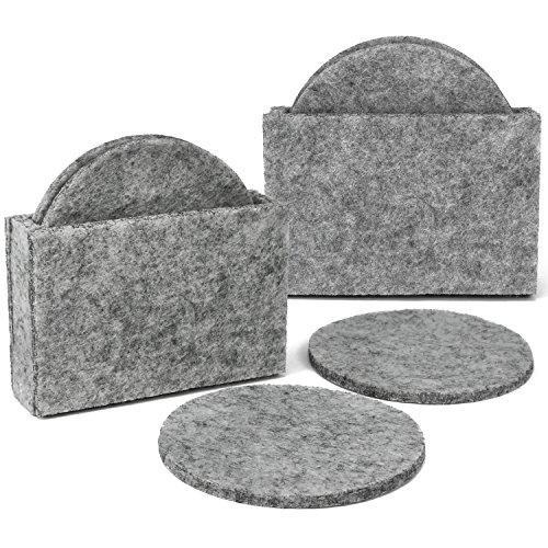 com-four 10-Teiliges Untersetzer Set aus Filz, Runde Filzuntersetzer in praktischer Aufbewahrungsbox aus Filz, Ø 10 cm (10-Teilig – Filz Hellgrau)