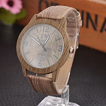 Souarts-Damen-Retro-Holz-Streifen-Uhr-Armbanduhr-Quartz-Analog-mit-Batterie-Hellbraun