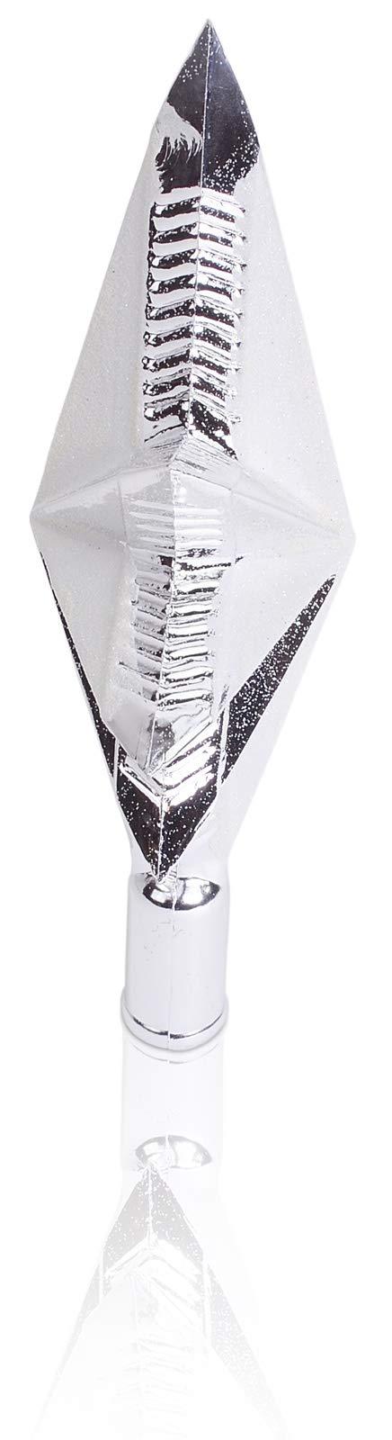 CHICCIE-Christbaumspitze-Glitzer-Stern-Silber-25cm-Weihnachtsbaumspitze-Baumspitze-Spitze