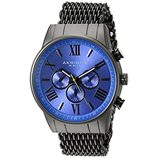 Akribos-XXIV-Herren-Enterprise-Schweizer-Automatik-Quarz-Armbanduhr-mit-Edelstahl-Armband