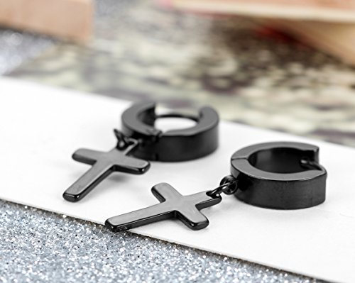 Flongo Ohrringe, 4 Stückes Edelstahl Ohrstecker Creolen Ohrringe Silber Schwarz Runden Kreuz Anhänger Jahrgang Herren, Damen