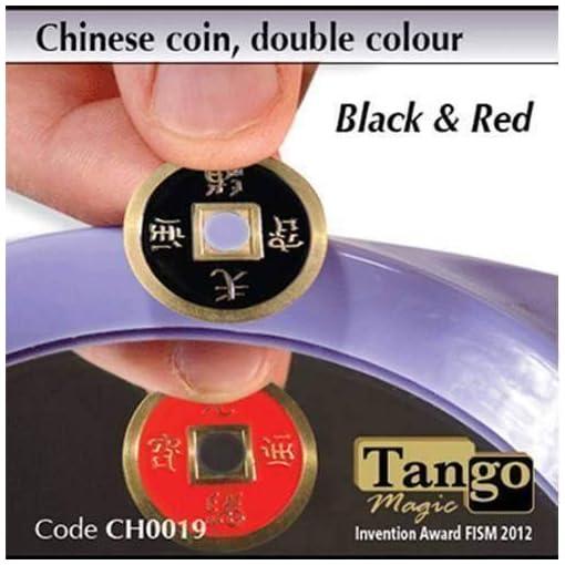 Chinese-Coin-Black-Red-by-Tango-Magic-Magie-mit-Tuch-Zaubertricks-und-Magie