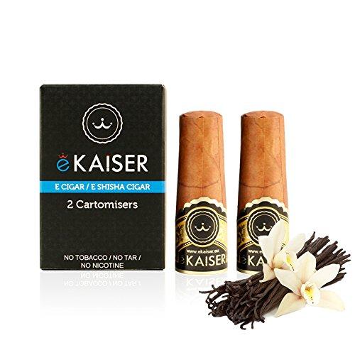 2er Pack Einweg-Cartomizer mit Vanille geschmack für bis zu 700Züge für die wiederaufladbare E-Zigarre / E-Shisha Zigarre von eKaiser