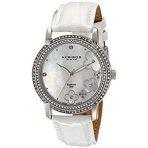 Akribos-XXIV-Damen-Lady-Diamond-Swiss-Quarz-Diamant-Zifferblatt-Lederband-Armbanduhr