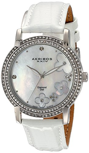 Akribos-XXIV-Damen-Lady-Diamond-Swiss-Quarz-Diamant-Zifferblatt-Lederband-Armbanduhr