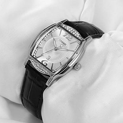 TIME100-Damenuhr-Diamant-Retro-eckig-Quarz-Leder-W50309L02A