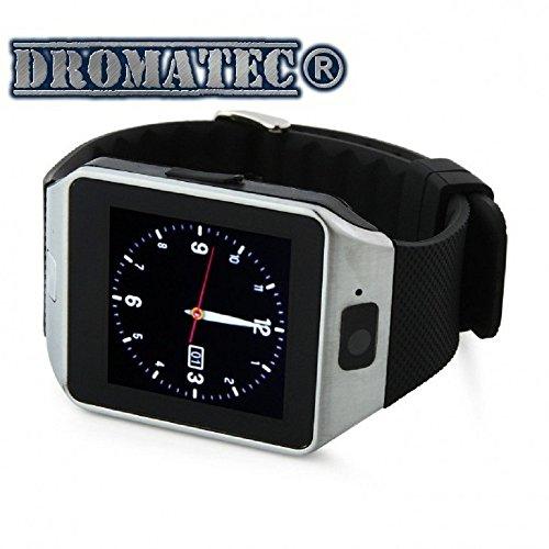 DROMATEC-SW09-Silber-Smartwatch-angeschlossen-Uhr-GSM-2G-Bluetooth-Kamera-Schrittzhler-Sleep-Modus-fr-Android-und-iPhone-IOS