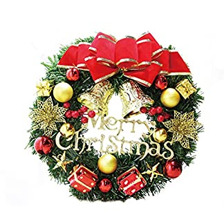 Happy-Event-Christmas-Weihnachten-Thanksgiving-Deco-Ornament-30cm-Simulation-Rattan-Roter-Blumenbogen-Krnze-Girlanden-Blumenketten-Dekorativer-Kranz-Schne-Deko-fr-Wand-Tr-und-Tisch