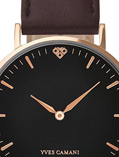 YVES-CAMANI-AMELIE-Damen-Armbanduhr-Analog-Quarz-rosegoldenes-Edelstahl-Gehuse-schwarzes-Zifferblatt