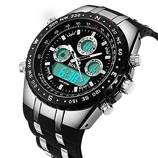 BINZI-Herren-uhren-Wasserdichte-Militr-Armbanduhr-Sport-Uhren-Digitaluhr-Luxus-LED-Licht-Dual-Display-mit-schwarzem-Silikonband