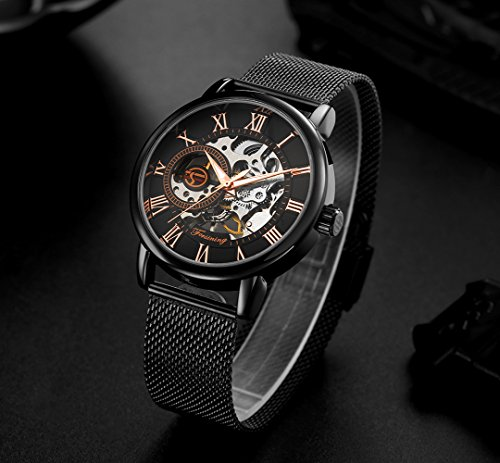 affute-Mechanische-Uhren-Herren-Klassisches-Skelett-Mesh-Edelstahl-Riemen-Automatik-aufziehbar-Armbanduhr-in-Schwarz