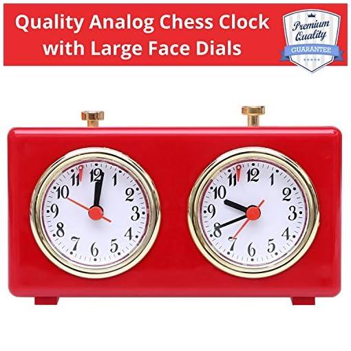 Retro-Glnzende-Rote-Analoge-Schachuhr-Zeitgeber–Aufzieh-Mechanismus-Schachuhr-mit-groen-Zifferblttern-leicht-zu-lesen-keine-Batterie-erforderlich-von-BetterLine