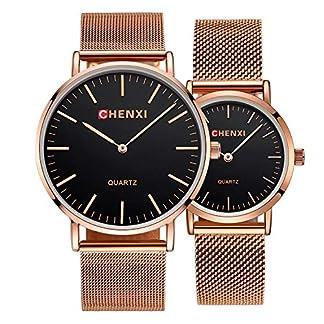 SUNWH-Prchen-Uhr-Fashion-Slim-Minimalist-Wasserdicht-Schwarz-Armbanduhr-Analog-Quarz-Uhren