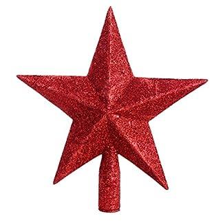 Tinksky-Weihnachtsbaumspitze-Stern-Baumschmuck-Glitzernde-Rot