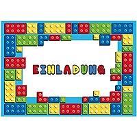 12-Einladungskarten-zum-Kindergeburtstag-Bausteine-Geburtstagseinladungen-Einladungen-Geburtstag-Kinder-Jungen-Mdchen-Block-Einladungstext-1-Vorlagen-Karten-Set