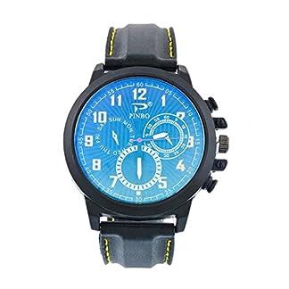 Souarts-Herren-Armbanduhr-Einfach-Stil-Sport-Analoge-Quarz-Uhr-Gelb-24cm