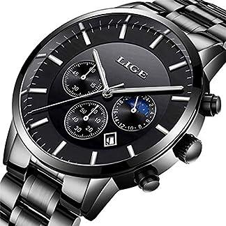 Herrenuhr-Wasserdicht-Edelstahl-Analog-Quarzuhren-Geschft-Datumskalender-Chronograph-Luxusmarke-LIGE-Mode-lssig-Silber-Stahlbanduhr