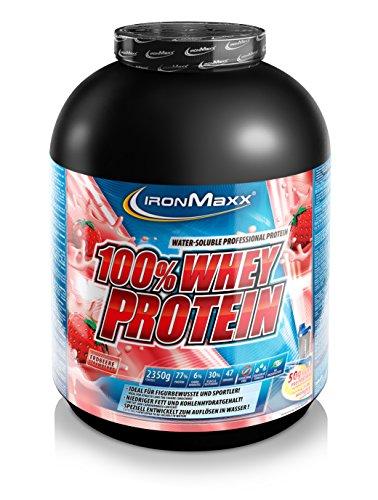 IronMaxx 100% Whey Protein / Proteinpulver auf Wasserbasis für Fitness-Shake / Eiweißpulver mit Erdbeer Geschmack / 1 x 2,35 kg Dose