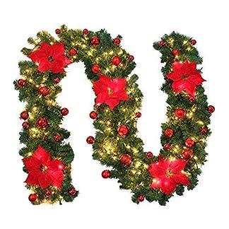 ZhongYeYuanDianZiKeJi-27M-Tannengirlande-Weihnachtsgirlande-mit-Beleuchtung-Knstliche-Dekogirlande-Weihnachten-Deko-Girlande-fr-Treppe-Wand-Tr