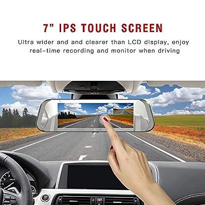 Spiegel-Dash-Cam-7-Zoll-IPS-Berhrungsempfindlicher-Bildschirm-Volles-HD-1080P-mit-170Weitwinkel-Rckfahrkamera-Doppellinse-mit-Parkplatz-Monitor-G-Sensor-Daueraufnahme
