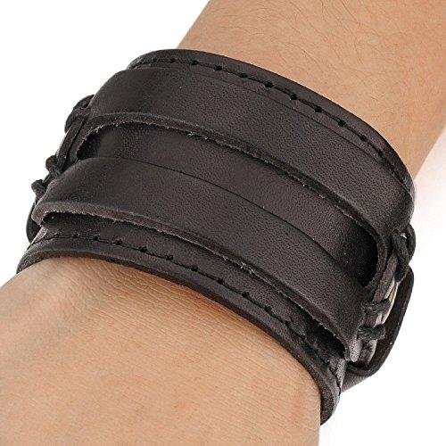 Leder-Armband für Herren und Damen von Mendino, breit, handgefertigt