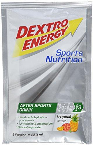 Dextro Energy Recovery Drink Tropical / Proteinreiches After Sports Getränkepulver mit Kohlenhydraten, Vitaminen & Magnesium für die Regeneration der Muskeln nach dem Sport / 7 Beutel (7 x 44,5g)