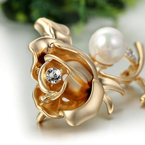JewelryWe Schmuck Damen Brosche, Rose Blume Design Strass Broschenadeln, Imitation Perlen Perlen Legierung Strass Ansteckblume, für Braut Hochzeit Party, Gold