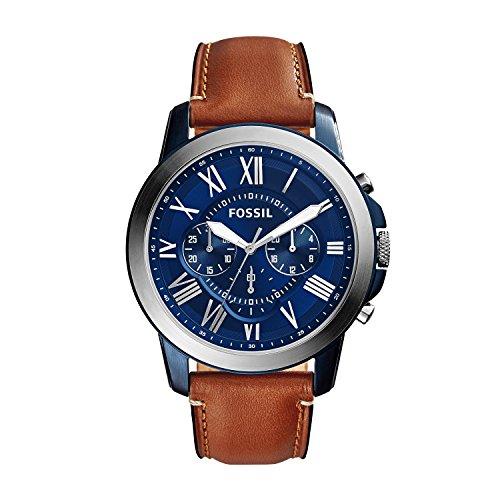 Fossil-Herren-Lederarmband-Uhr-Grant-mit-blauem-Ziffernblatt-silbernen-rmischen-Ziffern-lumineszierenden-Zeigern-Chronograph-mit-Lederband-in-Braun-ideal-fr-jeden-Anlass