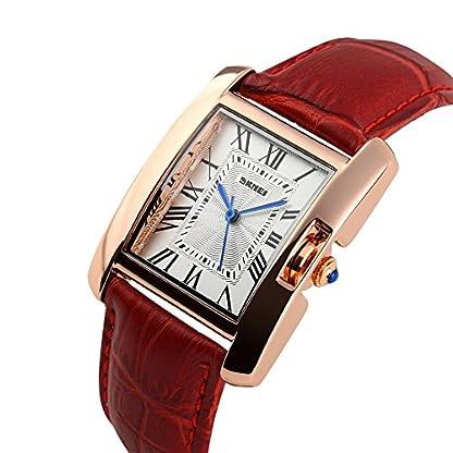 iLove-EU-Damen-Armbanduhr-30m-Wasserdicht-Leder-Band-Analog-Quarz-Uhr-Sportuhr-mit-Rechteckig-Rmischen-Ziffern-Zifferblatt-Rot