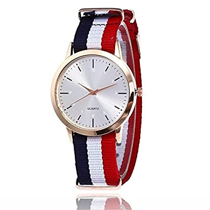 Homim-Damen-Analog-Quarzuhr-Rot-Wei-Blau-Nylon-Armband-weiss-Zifferblatt-Uhr-Damen-Herren-Armbanduhr