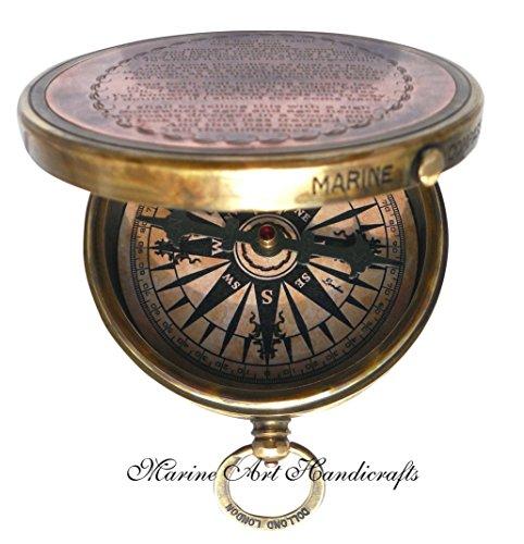 Robert-Frost-Gedicht-gravierte-Messingkompass-mit-geprgtem-Nadel-u-mit-Ledertasche–C-3241