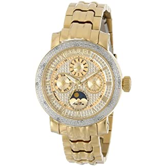 Akribos-XXIV-Damen-der-grandiosen-Diamant-Multifunktions-Edelstahl-Armband-Armbanduhr
