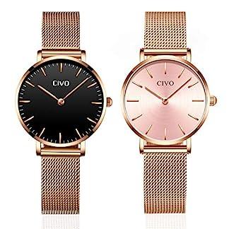 CIVO-Damen-Uhren-Damen-Ultra-Dnn-Minimalistisch-Wasserdicht-Kleid-Armbanduhren-Beilufig-Edelstahl-Mesh-Quarz-Uhr-fr-Frauen-Mdchen2-Pack