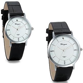 JewelryWe-Herren-Damen-Freundschafts-Armbanduhr-Elegant-Einfach-Business-Casual-Analog-Quarz-Leder-Armband-Uhr-fr-Lieben-Valentinstag-Paar-Paare-Geschenk-Schwarz
