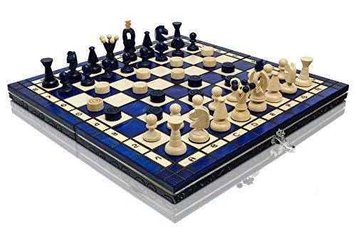 BLAUES-KNIGREICH-35cm-14in-farbiges-hlzernes-Schach-Spiel-und-Entwrfe-Kontrolleure-klassisches-Spiel