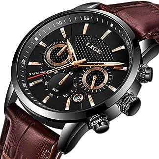 LIGE-Herren-Armbanduhren-Wasserdicht-Sport-Militr-Armbanduhr-fr-Herren-Multifunktions-Chronograph-Schwarz-Mode-Quarz-Armbanduhr-Kalender-mit-Lederband