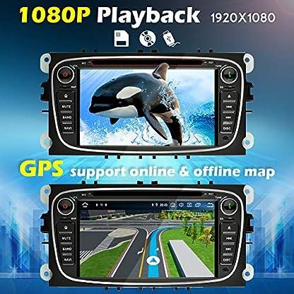 Ohok-7-Zoll-Bildschirm-2-Din-Autoradio-Android-90-Pie-Octa-Core-4G32G-Radio-mit-Navi-Moniceiver-DVD-GPS-Navigation-Untersttzt-Bluetooth-WLAN-DAB-fr-Ford-Focus-Schwarz-mit-Rckfahrkamera