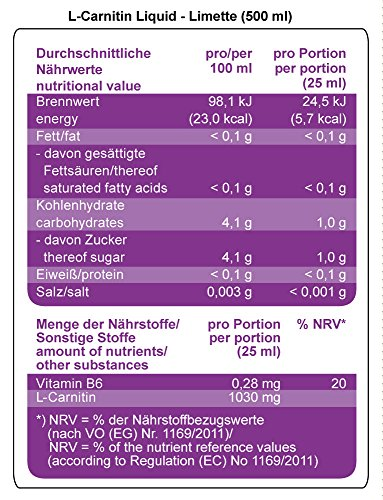 Best Body Nutrition L-Carnitin Liquid mit Carnipure, Limette, 1er Pack (1 x 500)