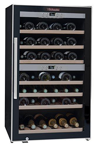 La-Sommelire-ECS702Z-Weinkhlschrank-1020-cm-Hhe-Zweizonen-Weintemperierschrank-mit-Kompressor-Digital-Anzeige-der-Temperatur-edelstahl-und-schwarz