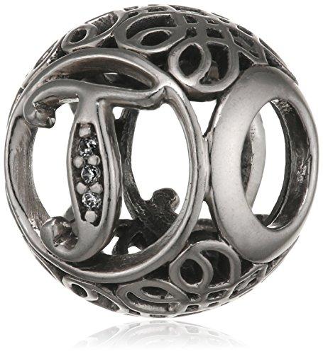 "Pandora Damen-Charm Vintage ""T"" 925 Zirkonia weiß-791864CZ"