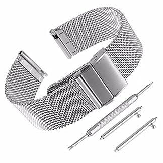 Beauty7-Unisex-Edelstahl-Uhrenarmband-Milanaise-Maschen-Modeschmuck-Gerade-Ansto-mit-Faltschliee-Schnell-Installierbar-SilberSchwarz-WBL00124125KTc