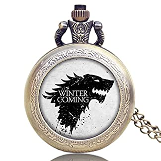 Game-of-Thrones-Winter-is-Coming-House-Stark-Logo-Antik-gebrstet-Bronze-Effekt-RetroVintage-Case-Herren-Quarz-Taschenuhr-Halskette-auf-813-cm-Zoll80-cm-Kette