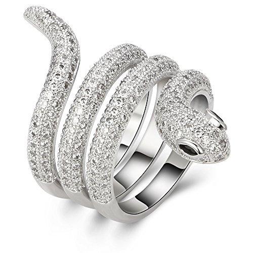 kemstone Original versilbert Schlange Ring Schmuck für Frauen Lady