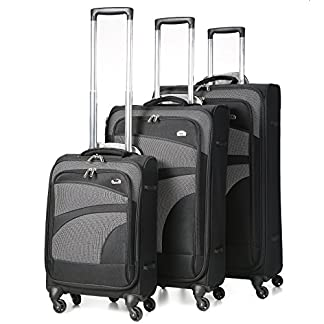 Aerolite-Leichtgewicht-4-Rollen-Trolley-Koffer-Kofferset-Gepck-Set-Reisekoffer-Rollkoffer-Gepck-3-Teilig-SchwarzGrau