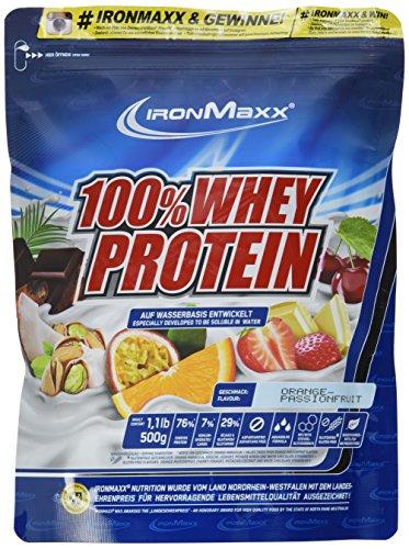 IronMaxx 100% Whey Protein Pulver / Proteinreiches Eiweißpulver / Wasserlösliches Proteinpulver mit Orange-Maracuja Geschmack / 1 x 500 g Beutel