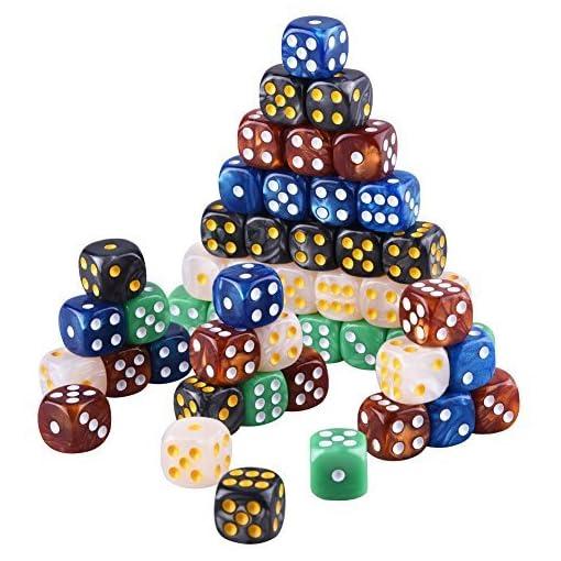 AUSTOR-6-Seitige-Wrfel-Set-mit-einem-Beutel-5-Perle-Farben-50-Stck-Abgerundete-Kanten-Wrfel-fr-Spiel-und-Lehre-Mathe