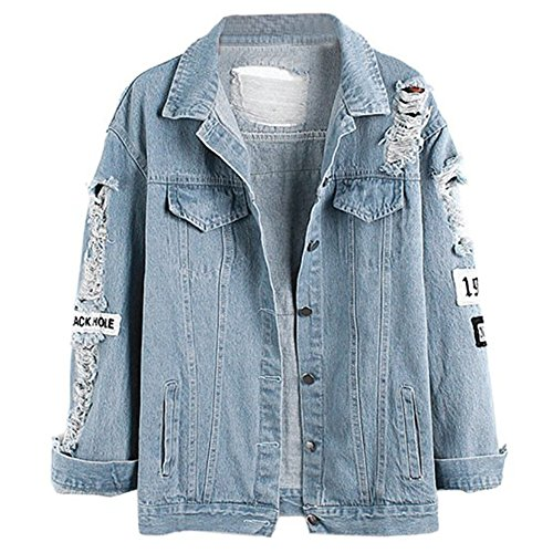 Damen Casual Jeansjacke mit Patches Blouson Knopfverschluss Cut-outs Denim Jacket Jeans-Jacke