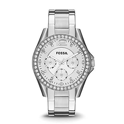 Fossil-Riley-Damen-Uhr-silber-Elegante-Edelstahl-Armbanduhr-mit-Strasssteinen-wasserfestes-Quarz-Uhrwerk-inkl-Wochentags-Datumsanzeige