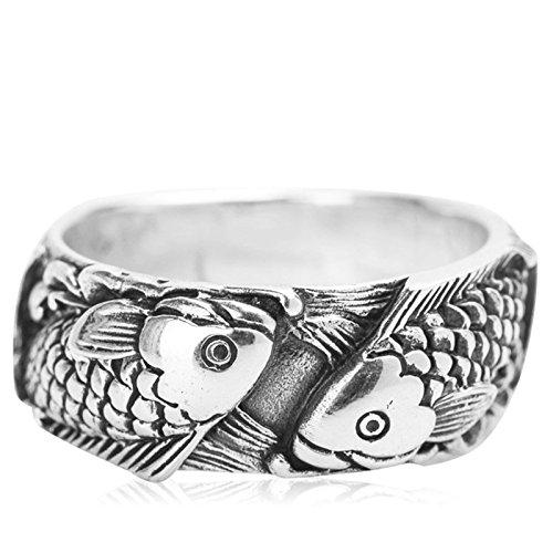 AieniD Hochzeitsband Verlobung Ringe 925 Sterling Silber für Herren und Damen Fische